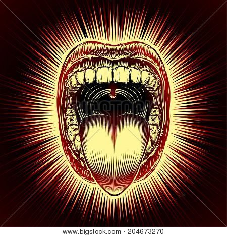 Open mouth with teeth and tongue on radiant beams background in retro stamping hand drawing style. Close-up of shouting screaming mouth with jaw drop. Vector vintage ink illustration of facial gesture