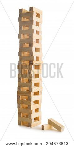 Woden game Jenga. Tower isolated on white background
