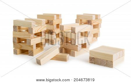 Brown Woden blocks isolated on white background