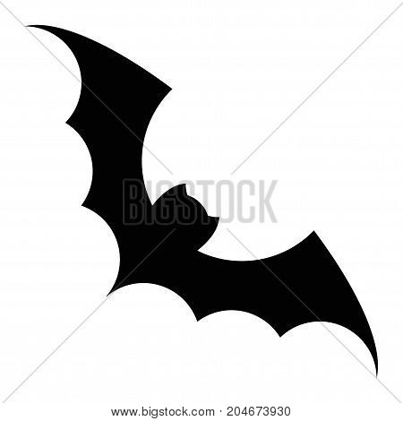 Bat silhouette vector black icon. Isolated on a white background. Illustration for decoration of congratulatory products for Halloween.