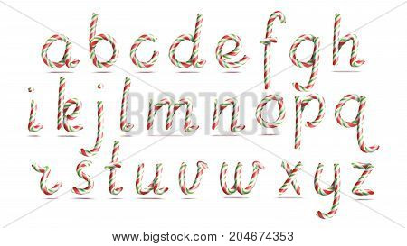 3D Realistic Candy Cane Alphabet Vector. Symbol In Christmas Colours. New Year Letter Textured With Red, White. Typography Template. Striped Craft Isolated Object. Xmas Art