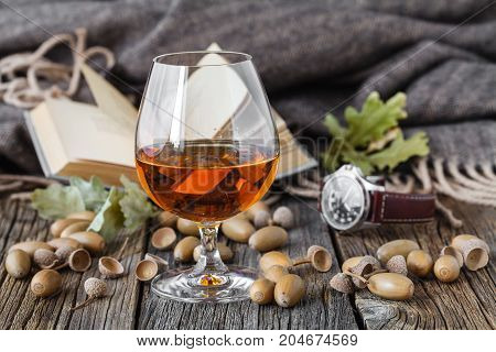 Relax With Alcohol. Autumn Oak And Glass Of Whisky