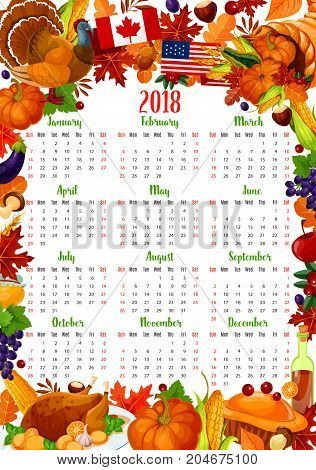 Calendar template with Thanksgiving Day holiday frame. Autumn harvest celebration year calendar design with turkey, pumpkin and corn, cornucopia with vegetable and fruit, fallen leaf and pie border