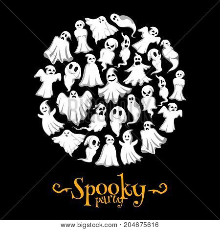 Halloween party invitation poster of flying ghosts for trick or treat night holiday celebration design template. Vector horror Halloween cartoon spooky ghost or happy poltergeist in dark black