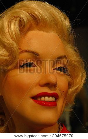 Los Angeles CA USA - 28 OCT 2013: Marilyn Monroe wax figure at Madame Tussauds museum in Hollywood. Norma Jean Morterson (Marilyn Monroe) was an American actress and model.