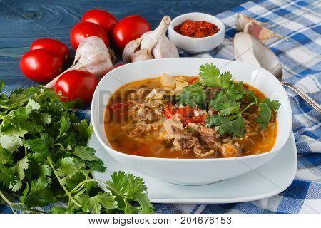 Hot Georgian Cuisine Soup Kharcho With Lamb