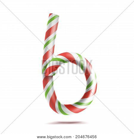 Letter B Vector. 3D Realistic Candy Cane Alphabet Symbol In Christmas Colours. New Year Letter Textured With Red, White. Typography Template. Striped Craft Isolated Object. Xmas Art