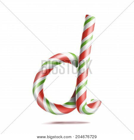 Letter D Vector. 3D Realistic Candy Cane Alphabet Symbol In Christmas Colours. New Year Letter Textured With Red, White. Typography Template. Striped Craft Isolated Object. Xmas Art