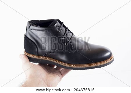 Male Black Leather Boot on White Background, Isolated Product.