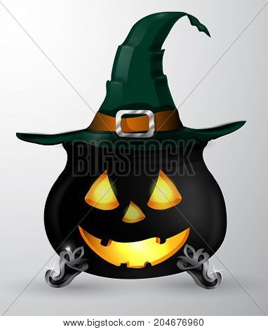 Cartoon Halloween witchs cauldron with Jack O Lantern eyes mouth and nouse and witch hat isolated on white could be used for Halloween design vector