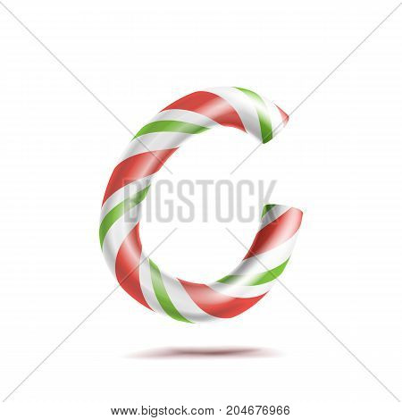 Letter C Vector. 3D Realistic Candy Cane Alphabet Symbol In Christmas Colours. New Year Letter Textured With Red, White. Typography Template. Striped Craft Isolated Object. Xmas Art