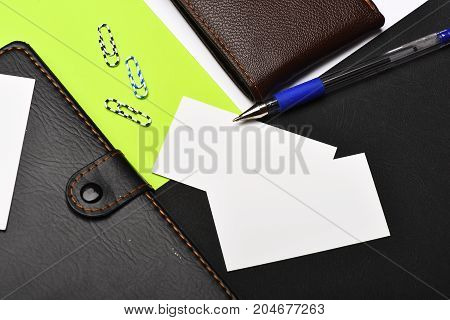 Leather Wallet And Stationery, Close Up