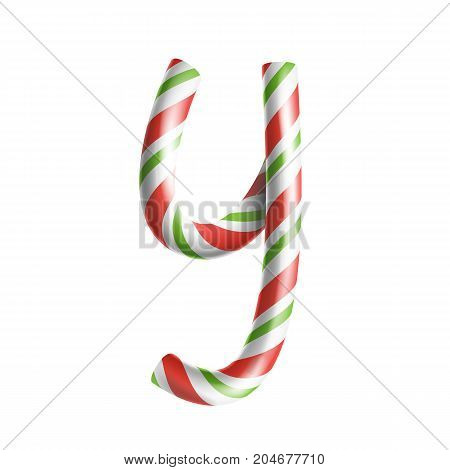 Letter Y Vector. 3D Realistic Candy Cane Alphabet Symbol In Christmas Colours. New Year Letter Textured With Red, White. Typography Template. Striped Craft Isolated Object. Xmas Art