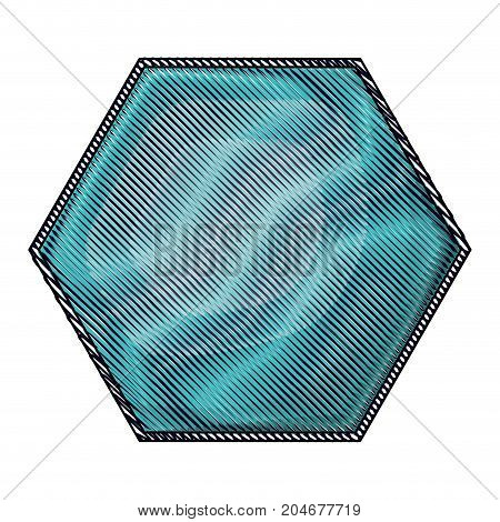hexagon emblem in colored crayon silhouette vector illustration