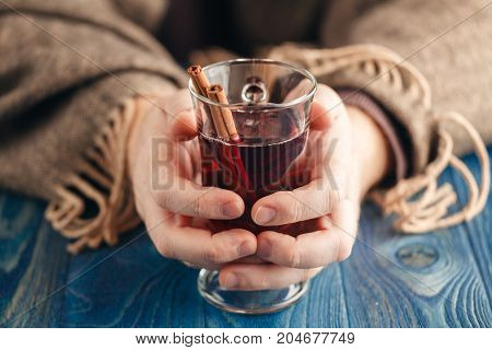 Winter Time Hot Spiced Red Wine In Glass Mug