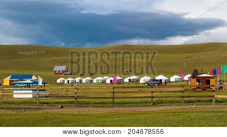Tourist center in Mongolia. Yurts - a traditional home in Mongolia. The picture aspect ratio is 16: 9