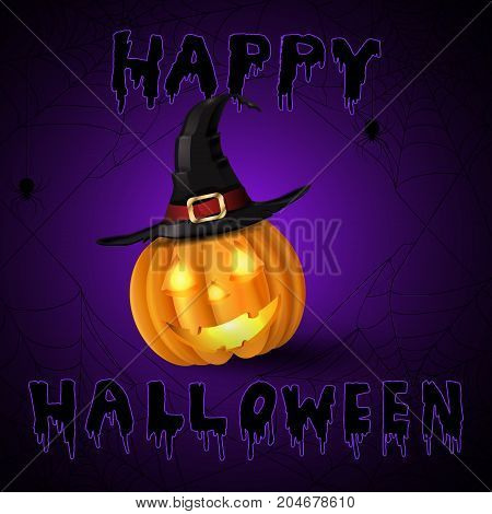 Scary Jack O Lantern halloween pumpkin with candle light inside on spider web background with witch hat and with handwritten happy halloween vector