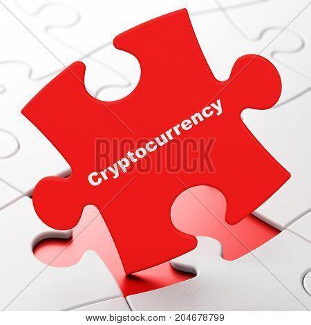 Information concept: Cryptocurrency on Red puzzle pieces background, 3D rendering
