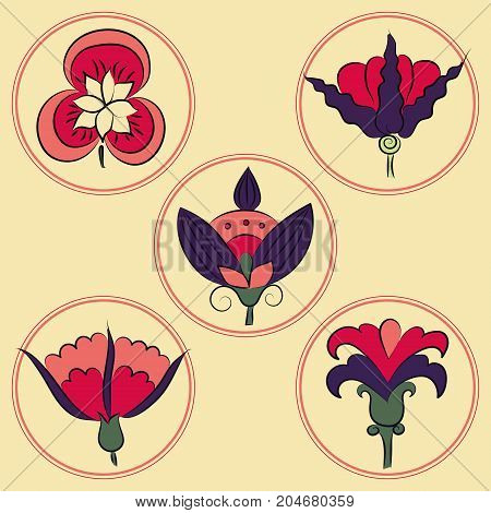 Art Nouveau flowers, Sophisticated floral icons, bright colors