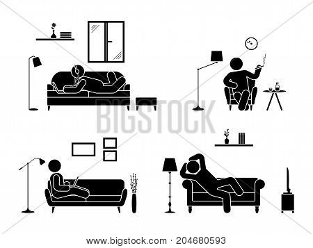 Stick figure resting at home position set. Sitting lying smoking cigarette listening to music using laptop drinking whiskey vector icon relaxing posture on sofa and armchair. Furniture pictogram