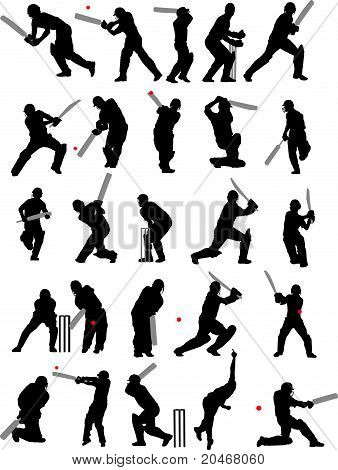 25 detail cricket poses in isolated silhouette poster