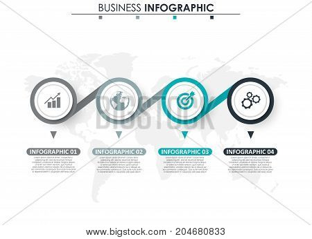 Business data, chart. Abstract elements of graph, diagram with 4 steps, strategy, options, parts or processes. Vector business template for presentation. Creative concept for infographic