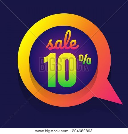 sale discount 10% banner on white background. vector illustration. colorful