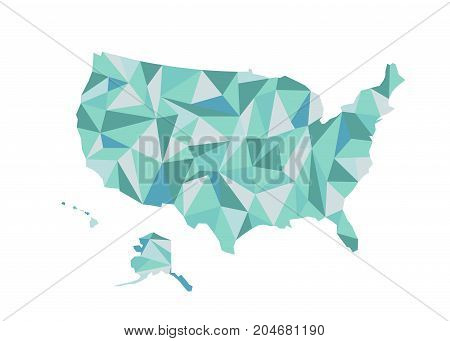 Map of USA. Isolated vector illustration. United States of America. US map with state borders. usa silhouette.