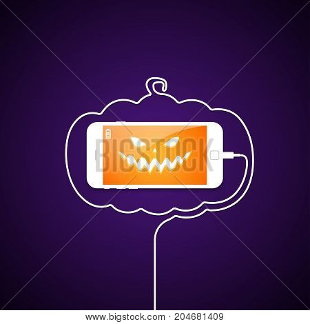 Evil face on the smartphone screen. Telephone wire in the form of a pumpkin contour. Holiday Halloween. Vector illustration