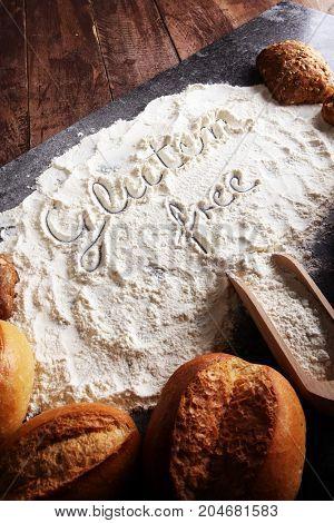 Gluten Free Breads, Glutenfree Word Written And Bread Rolls On G