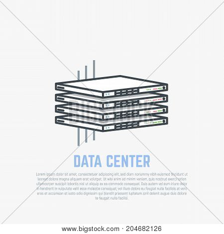 Server room rack. Thin server hardware with internet cables in isometric perspective. Cloud storage concept. Flat style line modern vector illustration with retro colors.