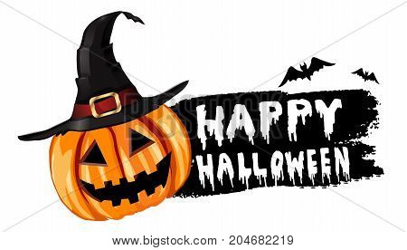 Halloween pumpkin label sticker with white bloody letters on black vector