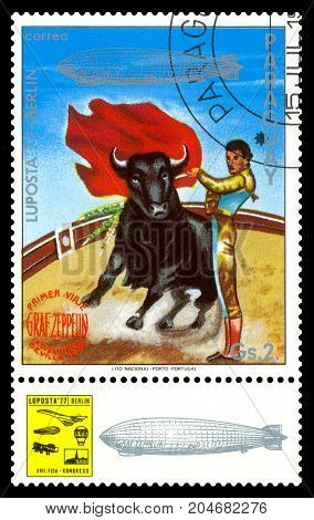 STAVROPOL RUSSIA - September 12 2017: a stamp printed by Paraguay shows Corrida Bull Fighter International air mail exhibition