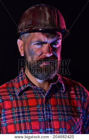 Builder Or Miner With Thick Beard. Man With Concerned Face