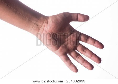 Man hand isolated on white background clipping path