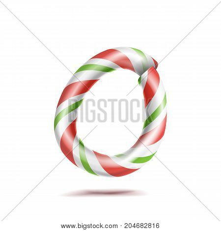Letter O Vector. 3D Realistic Candy Cane Alphabet Symbol In Christmas Colours. New Year Letter Textured With Red, White. Typography Template. Striped Craft Isolated Object. Xmas Art