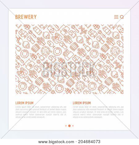 Beer concept with thin line icons related to brewery and Beer October Festival. Modern vector illustration for banner, web page, print media with place for text.
