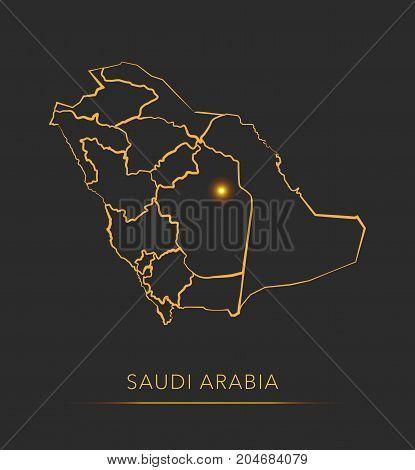 Golden region map, Saudi Arabia district vector background