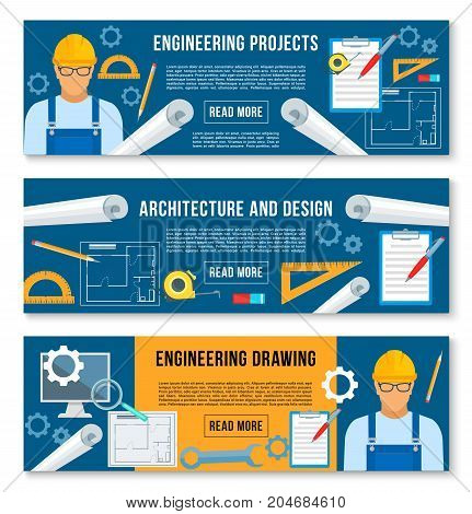 Home or house engineering and planning project banners. Vector set for interior design and building engineer work tools of ruler, pencil or room layout drawing with eraser for architecture plan