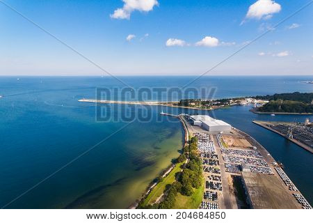 Aerial view of new cars in a port of Gdansk Poland