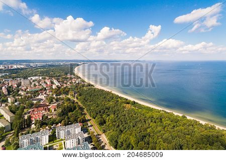 Aerial view of the beach of Gdansk in summer