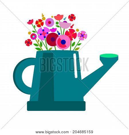 can garden plant flower vector gardening illustration spring nature watering