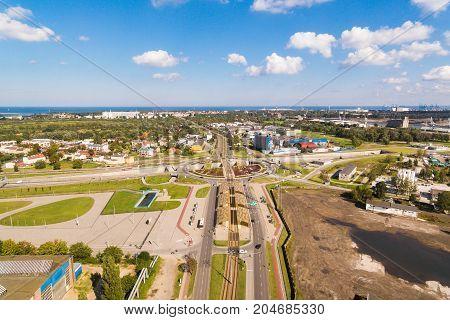 Bird-eye view of the crossroads in Gdansk Poland