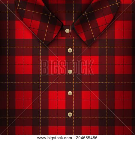Folded Plaid Shirt. The symbol for accuracy and fashion. Traditional American plaid texrure. Design element for store and retail. Editable Vector illustration
