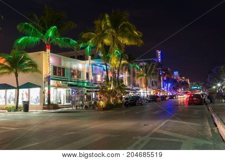 OCEAN DRIVE, MIAMI - JANUARY 17, 2017: Night view at Ocean drive near South Miami Beach, Florida. world famous destination for nightlife, beautiful weather and pristine beaches.