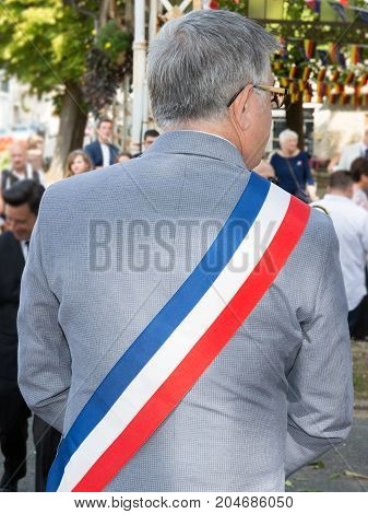 Rear View Of The Mayor Of A City In France