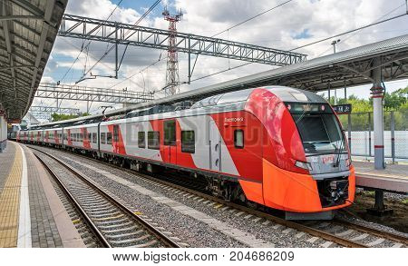 Moscow, Russia - July 25, 2017: Train at the Moscow Central Circle line. Opened in 2016, it became the 14th line of the Moscow rapid transit system