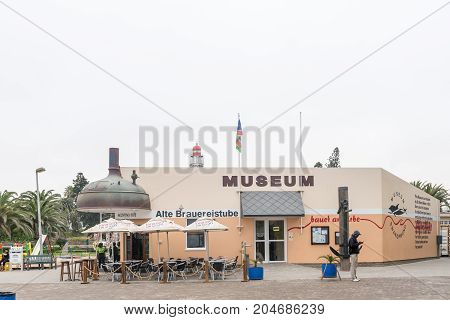 SWAKOPMUND NAMIBIA - JUNE 30 2017: The museum and and a coffee shop at the Molen in Swakopmund in the Namib Desert on the Atlantic Coast of Namibia