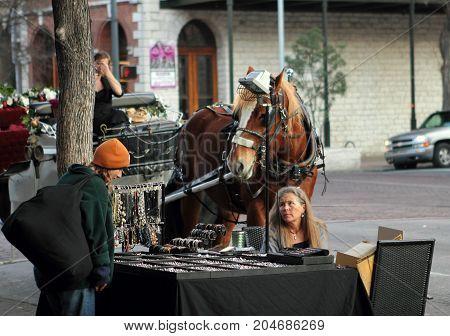 Austin, Texas - February 19, 2011: Souvenir seller on the street of Austin, Texas