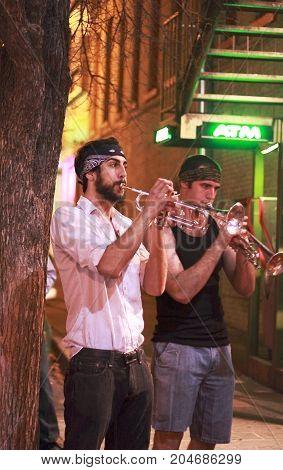 Austin, Texas - February 19, 2011: Street musicians performing in Austin, Texas